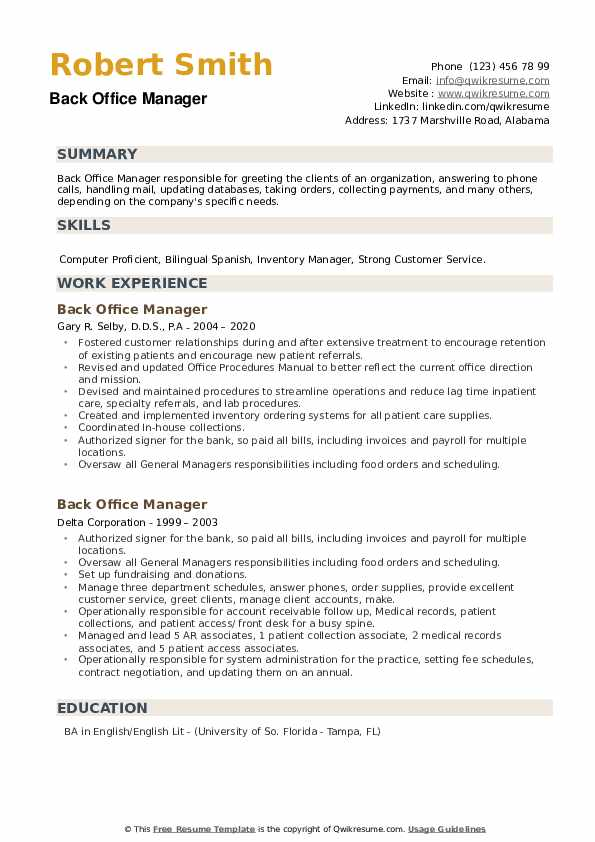 Back Office Manager Resume example