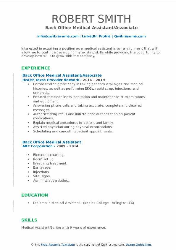 back office medical assistant resume samples