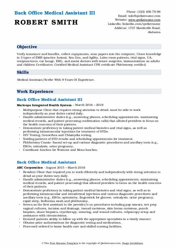 Back Office Medical Assistant Resume Samples Qwikresume