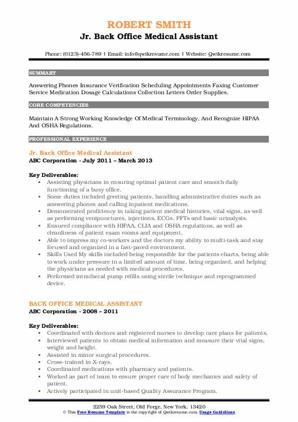 Jr. Back Office Medical Assistant Resume Format
