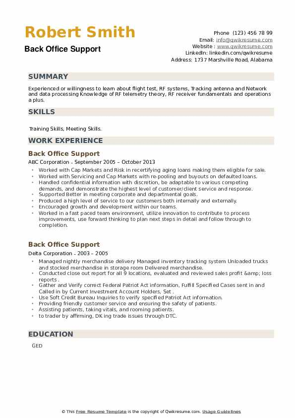 Back Office Support Resume example