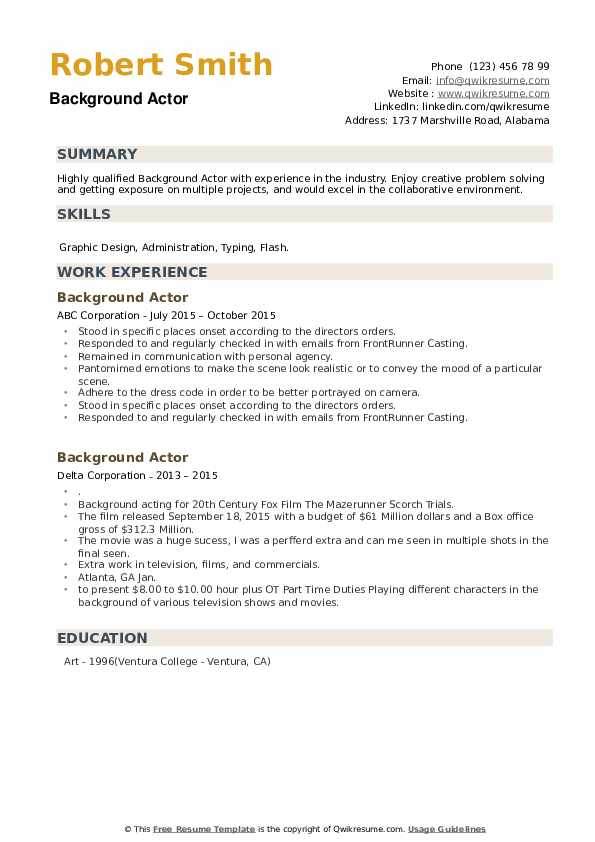Background Actor Resume example