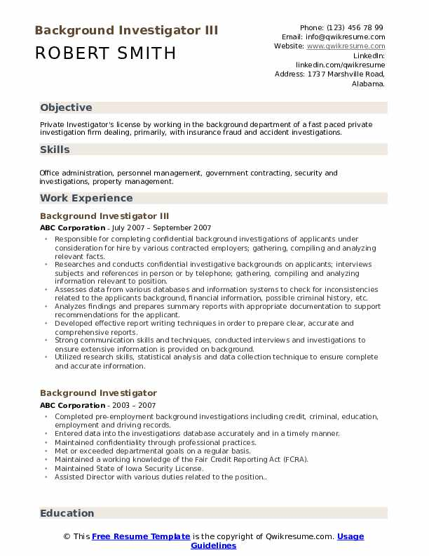 Background Investigator Resume Samples Qwikresume