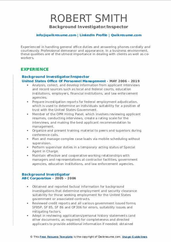 Background Investigator/Inspector Resume Format