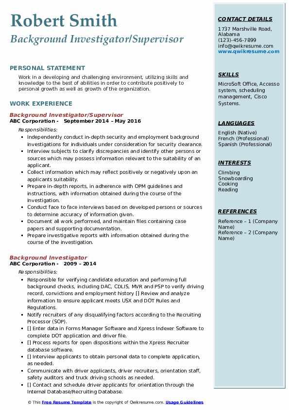 Background Investigator/Supervisor Resume Template