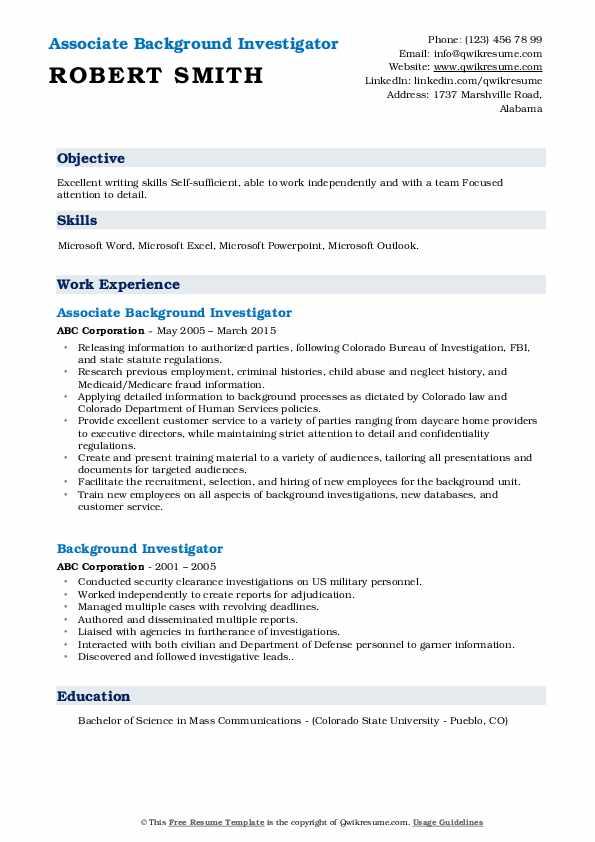 Associate Background Investigator Resume Model
