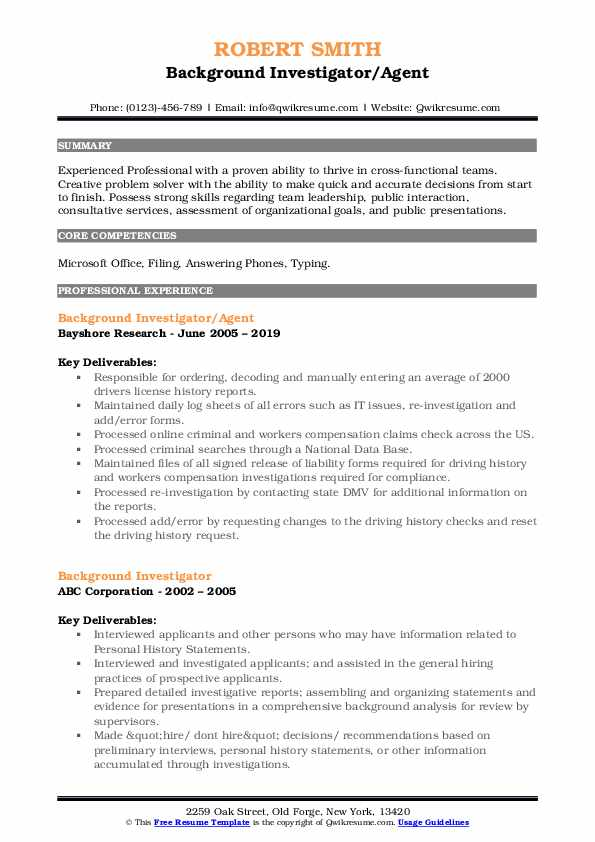 Background Investigator/Agent Resume Template