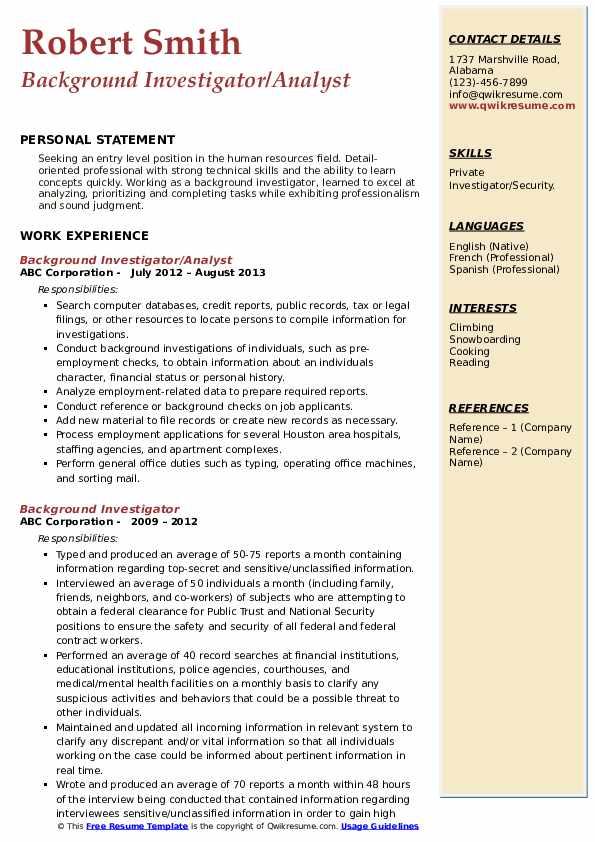 Background Investigator/Analyst Resume Example