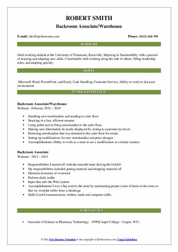 Backroom Associate/Warehouse Resume Example