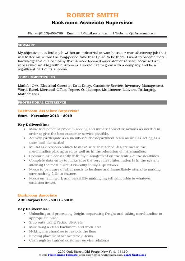 Backroom Associate Supervisor Resume Format