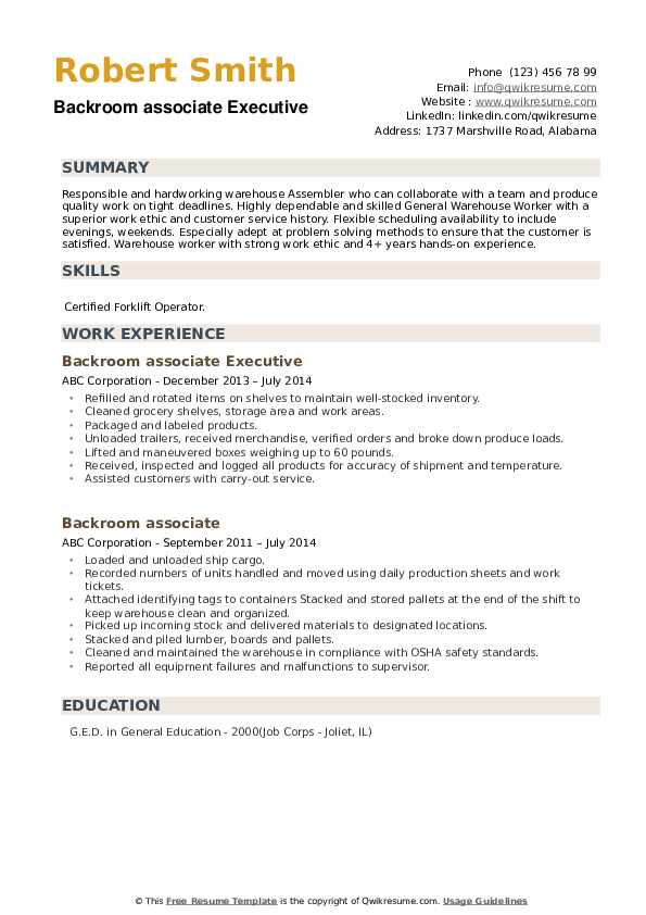 Backroom associate Executive Resume Format