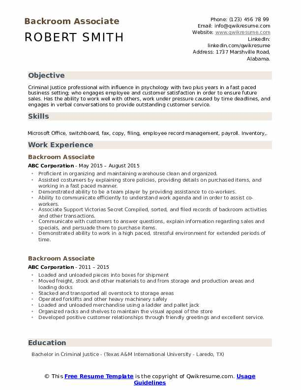 Backroom Associate Resume example