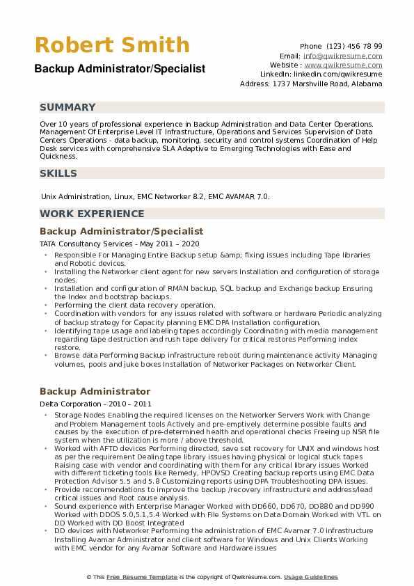 Backup Administrator Resume example