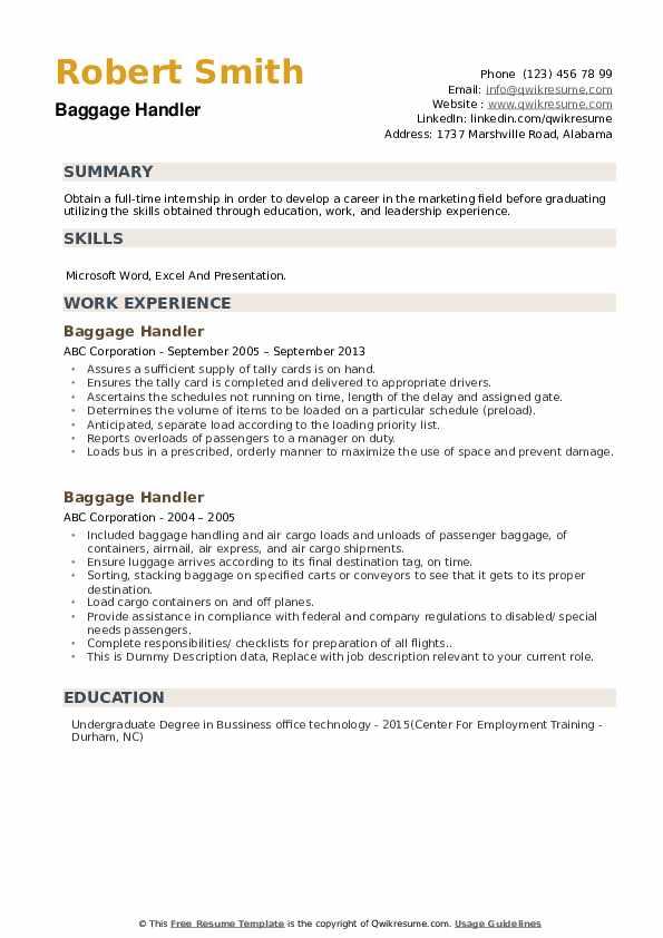 Baggage Handler Resume example