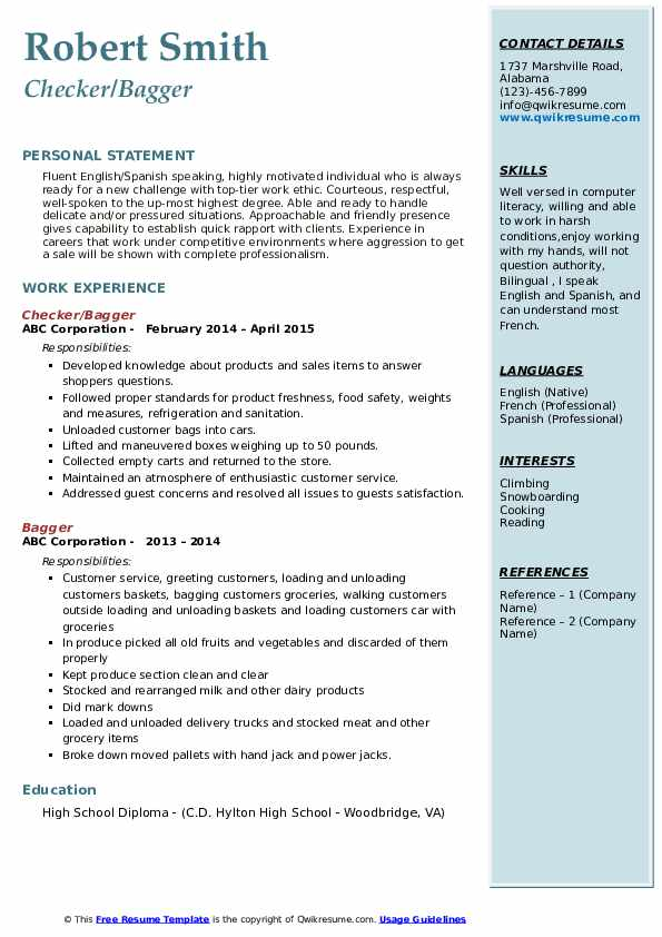 Checker/Bagger Resume Format