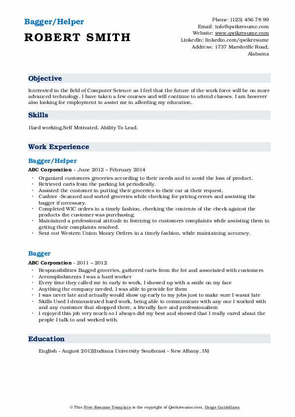 Bagger/Helper Resume Sample