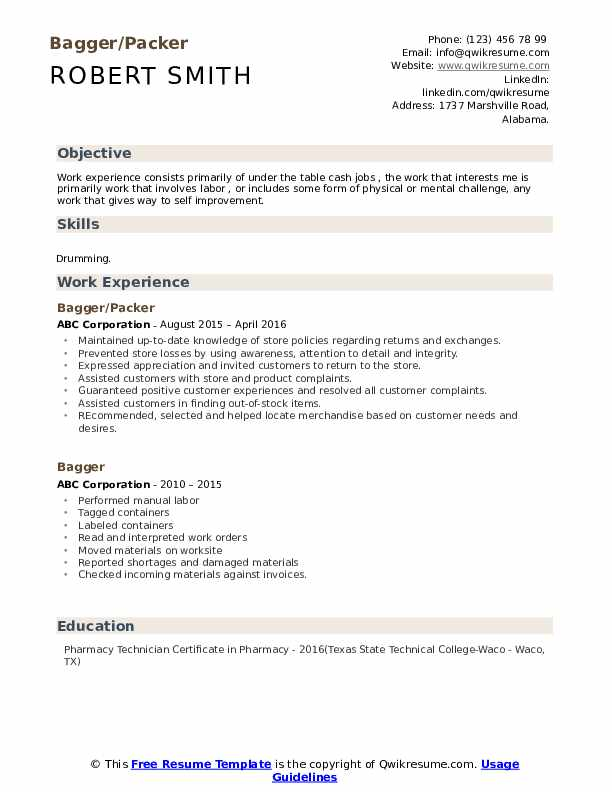 Bagger/Packer Resume Example
