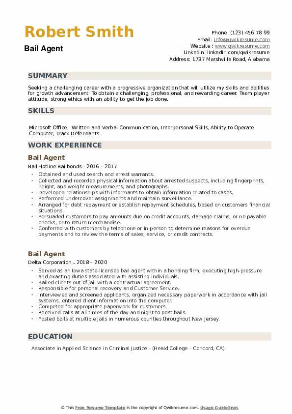 Bail Agent Resume example