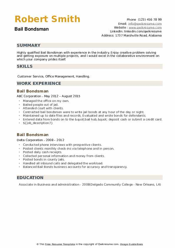 Bail Bondsman Resume example