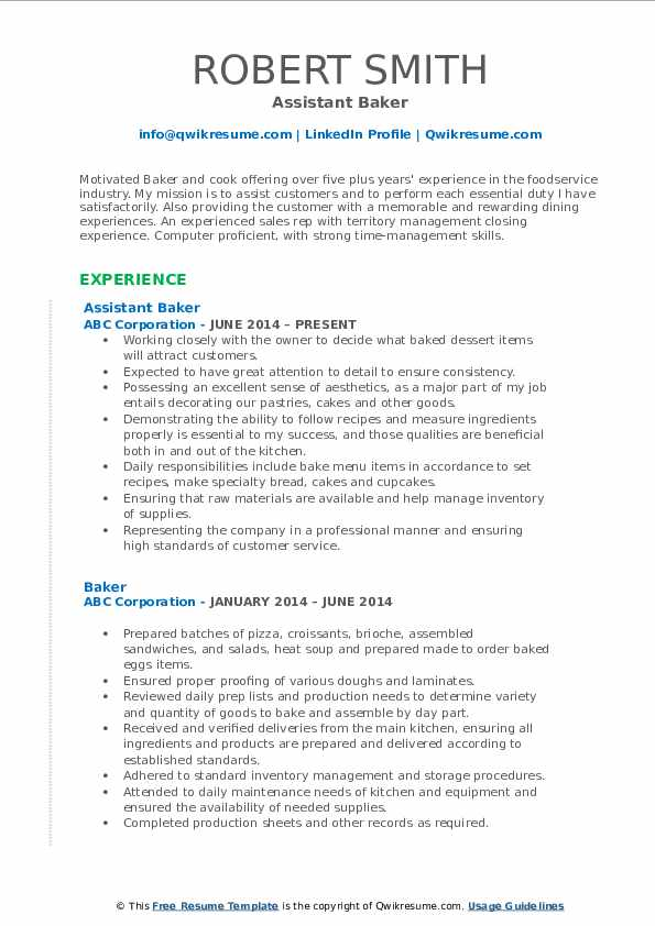 Assistant Baker Resume Example