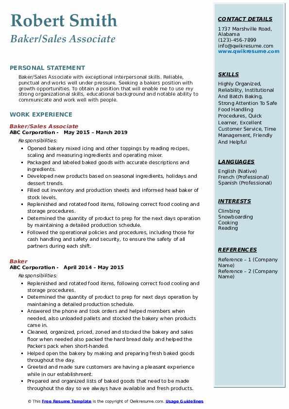 Baker/Sales Associate Resume Example