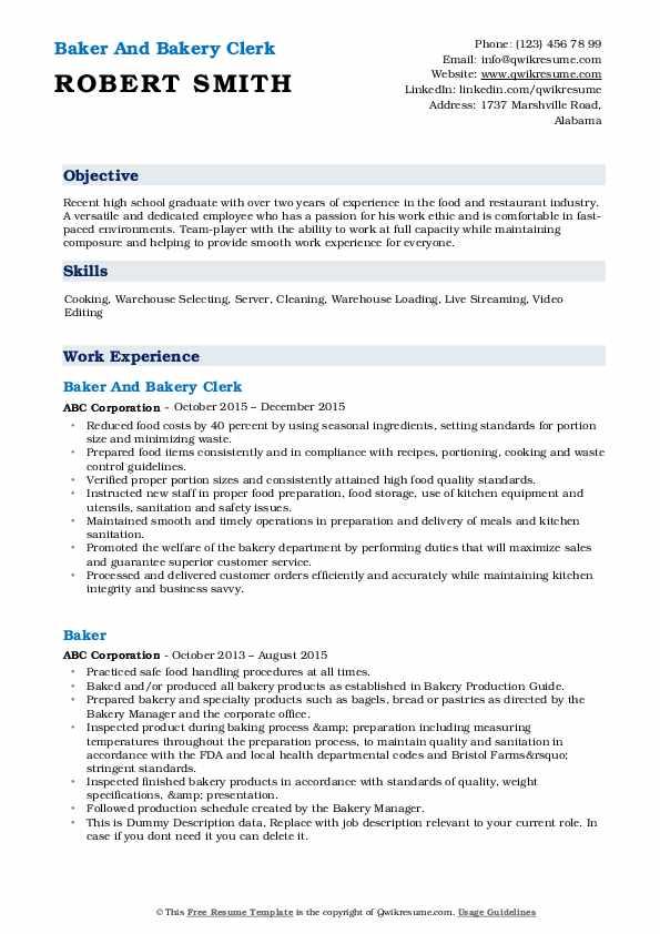 Baker And Bakery Clerk Resume Format