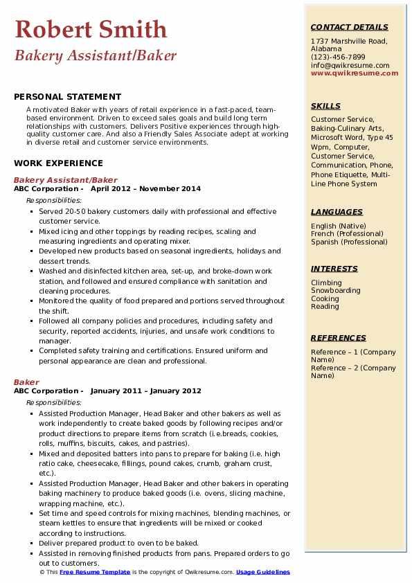 Bakery Assistant/Baker Resume Template