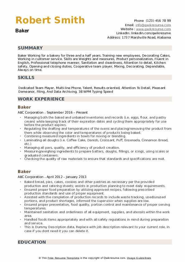 Baker Resume Model