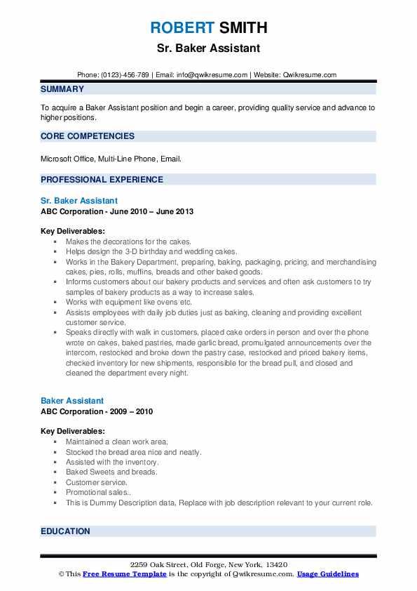 baker assistant resume samples  qwikresume