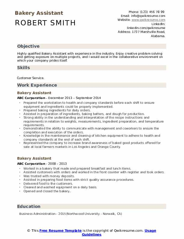 Bakery Assistant Resume Template