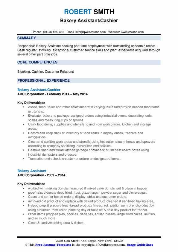 Bakery Assistant/Cashier Resume Format