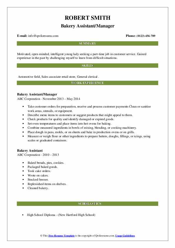 Bakery Assistant/Manager Resume Sample