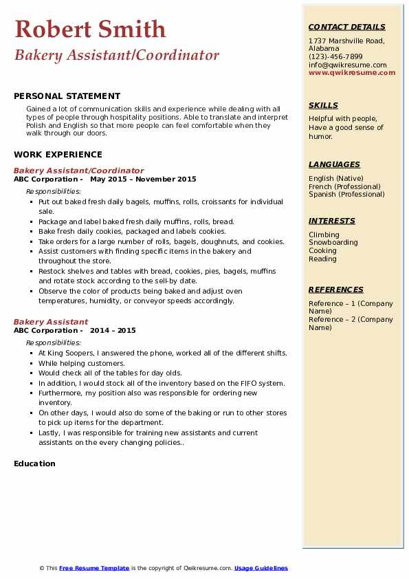 Bakery Assistant/Coordinator Resume Format