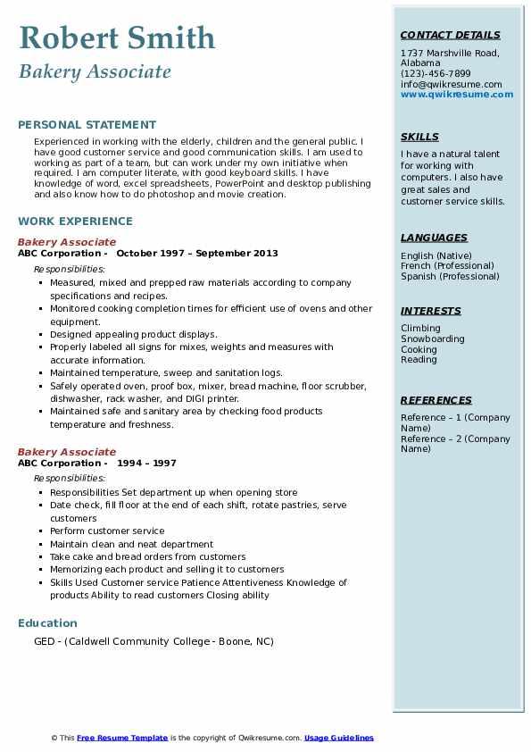 Bakery Associate Resume example