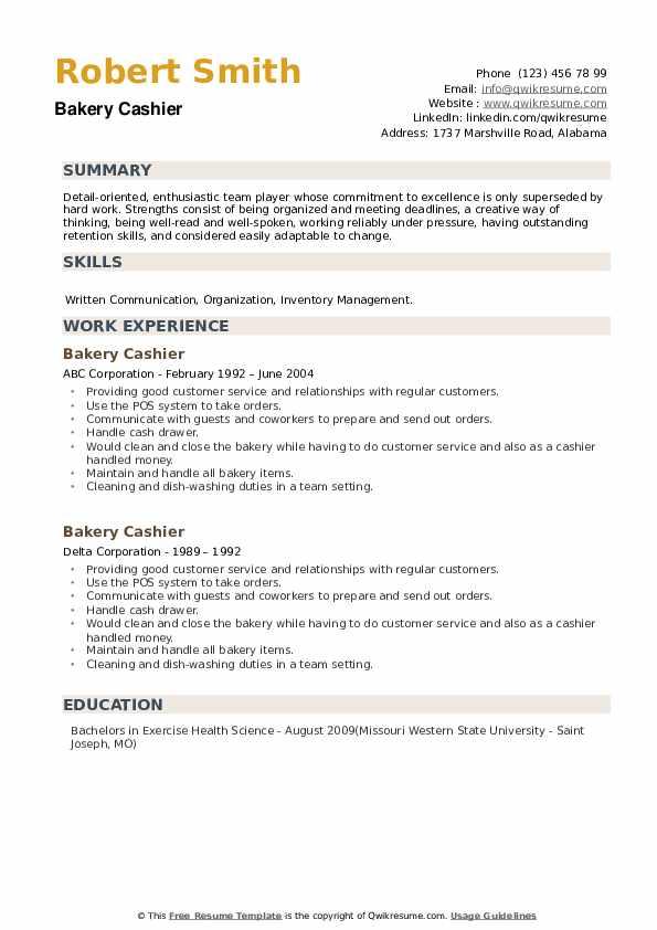 Bakery Cashier Resume example