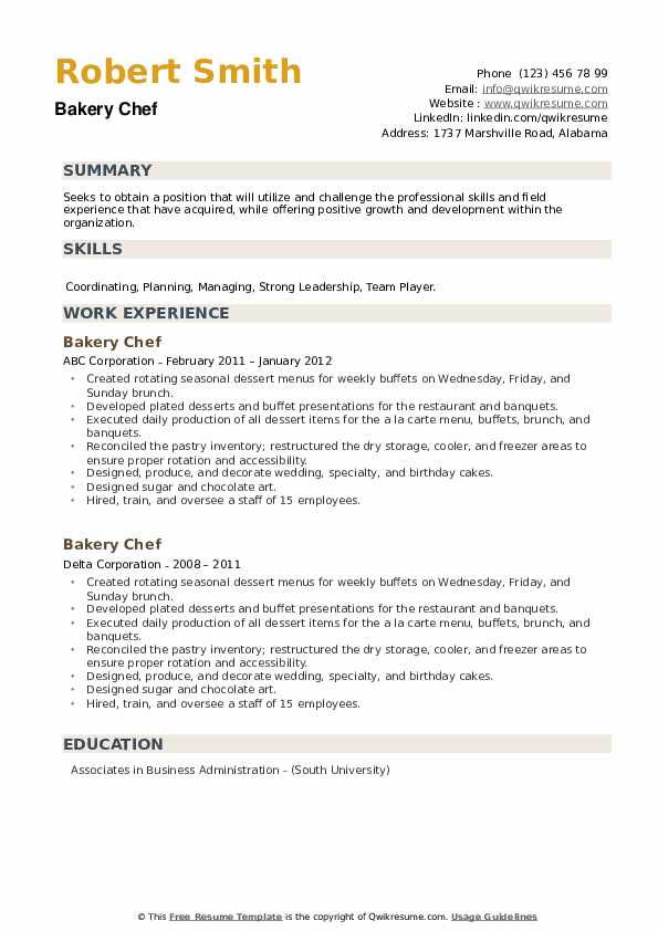 Bakery Chef Resume example