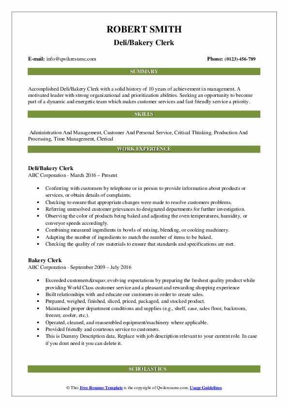 Deli/Bakery Clerk Resume Sample