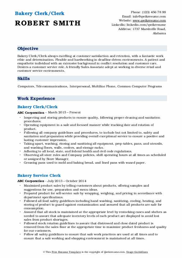 Bakery Clerk/Clerk Resume Sample