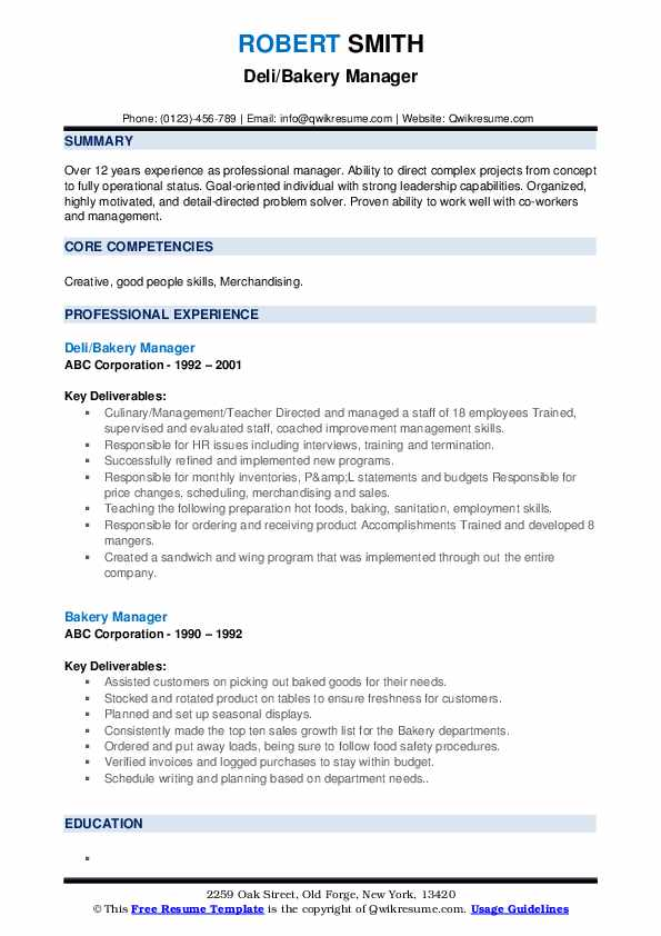 Deli/Bakery Manager Resume Model