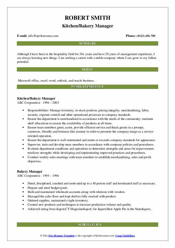 Kitchen/Bakery Manager Resume Model