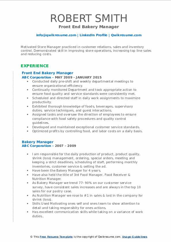 Front End Bakery Manager Resume Model