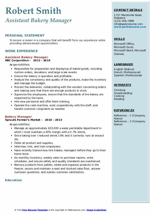 Assistant Bakery Manager Resume Format