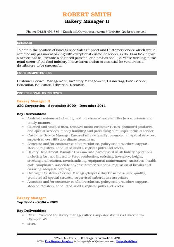 Bakery Manager II Resume Format