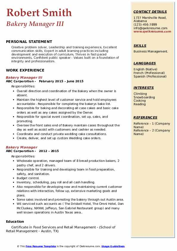 Bakery Manager III Resume Format