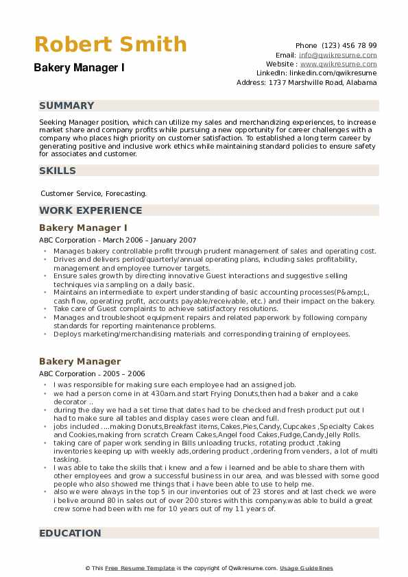 Bakery Manager I Resume Template