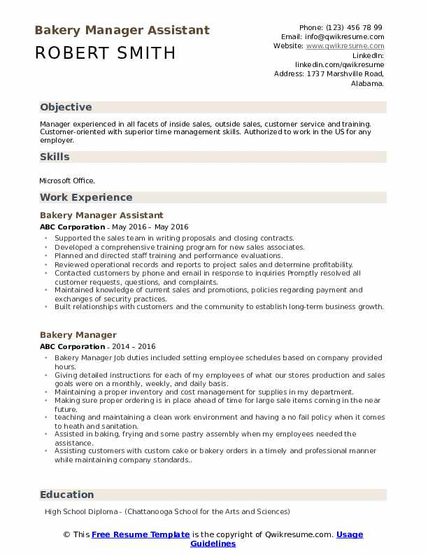 Bakery Manager Assistant Resume Sample