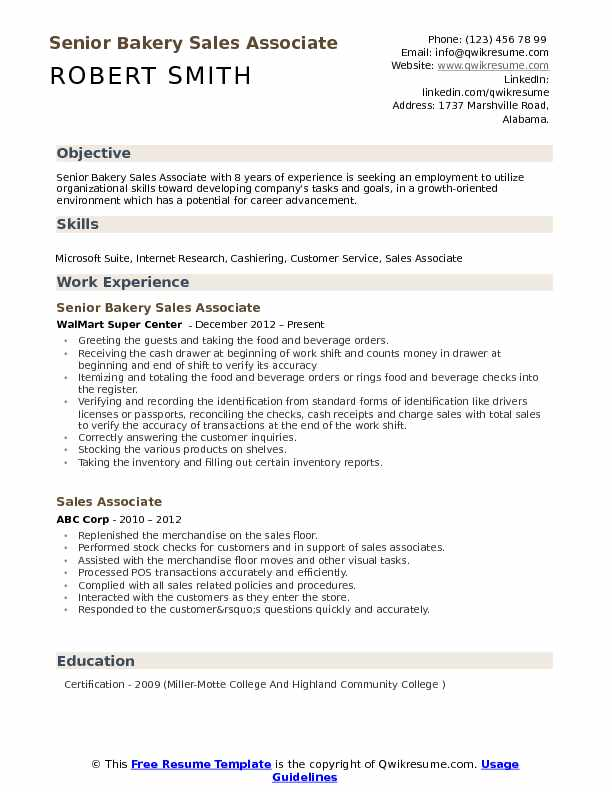 Senior Bakery Sales Associate Resume Format