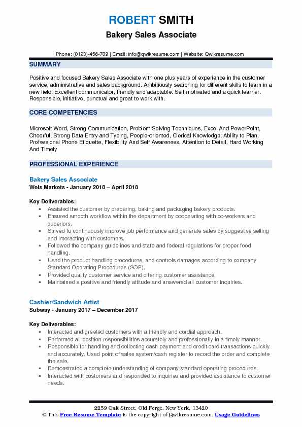 Bakery Sales Associate Resume Model
