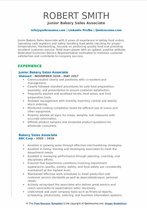 Junior Bakery Sales Associate Resume Sample