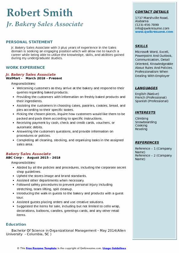 Jr. Bakery Sales Associate Resume Format